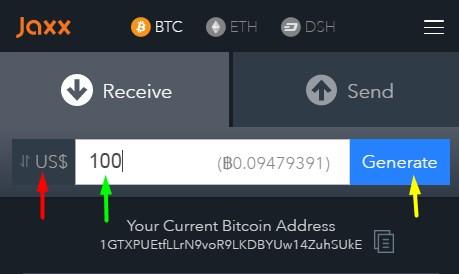 Биткойн плащания с портфейла на Jaxx.io